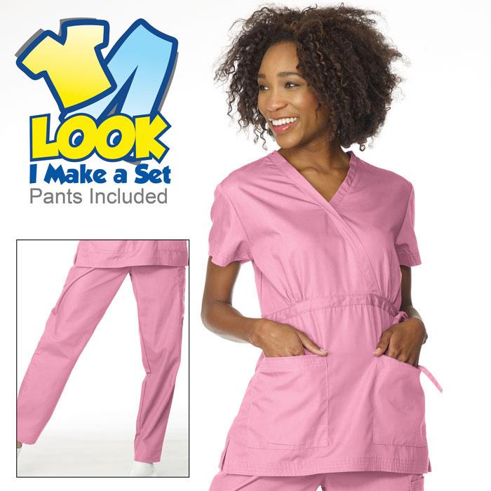 12cfc48ad1d 7850 - Ladies - Mock Wrap Scrub Set with Adjustable Empire Waist Tie ...