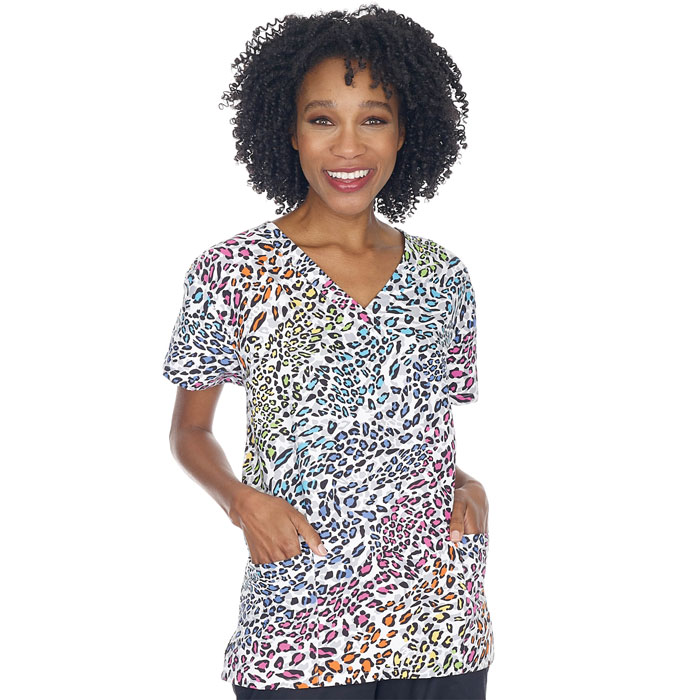 9000M-1143-Ladies-2-Pocket-V-Neck-Top-FUN-JUNGLE
