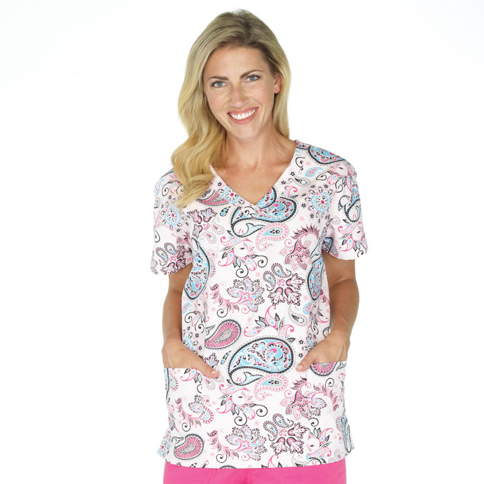 9000M-1175PK, Ladies 2 Pocket V-Neck Top, Paisley Passion