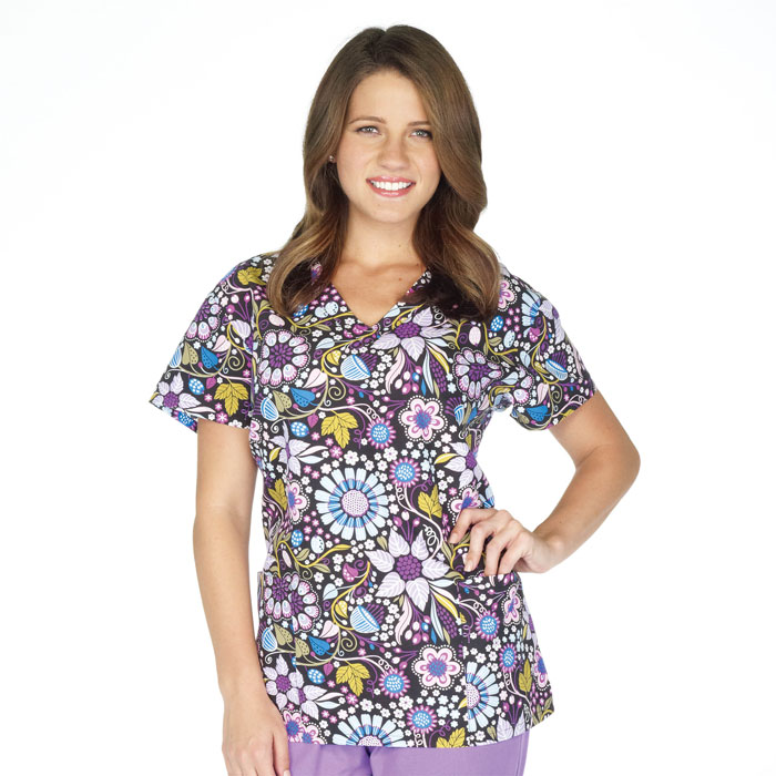 9000M-1176BK-Ladies-2-Pocket-V-Neck-Top-Tapestry-Floral