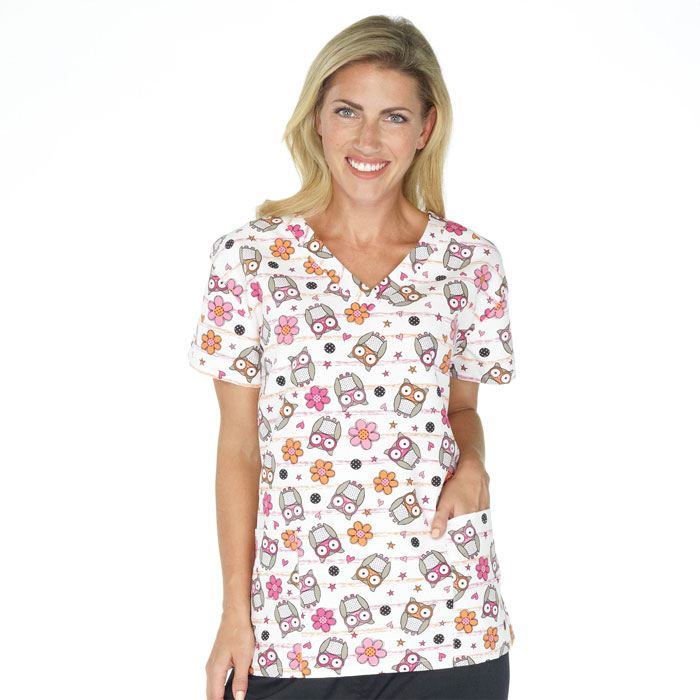 9000M-1191WH, Ladies 2 Pocket V-Neck Top, Lined Owls