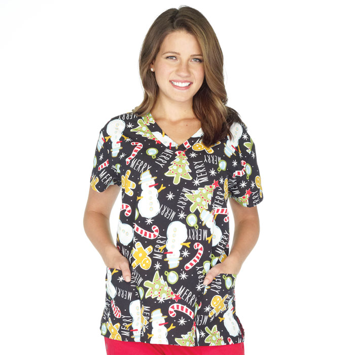 9000-1226-Ladies-V-Neck-Top-Gingerbread-Trees