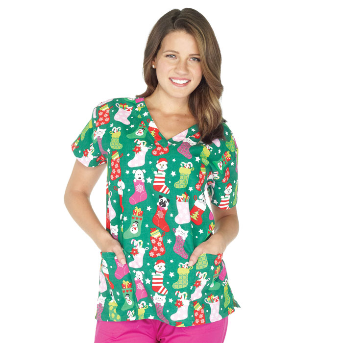 9000-1230-Ladies-V-Neck-Top-Christmas-Stockings