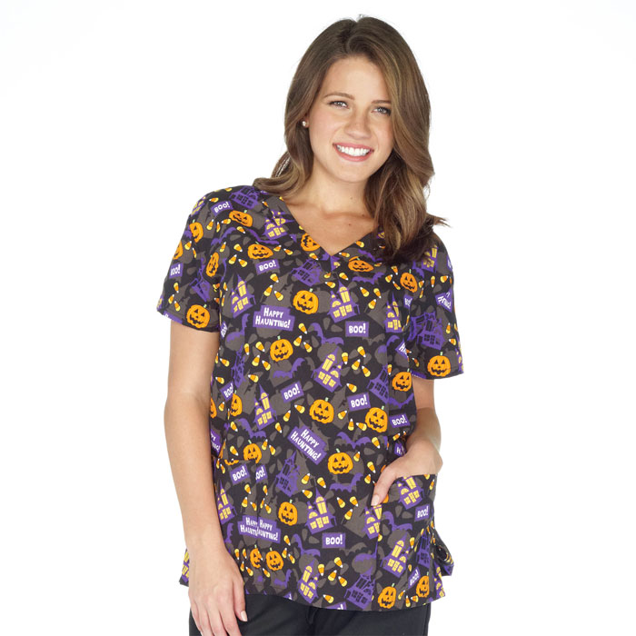 9000-1234-Ladies-2-Pocket-V-Neck-Top-Happy-Haunting