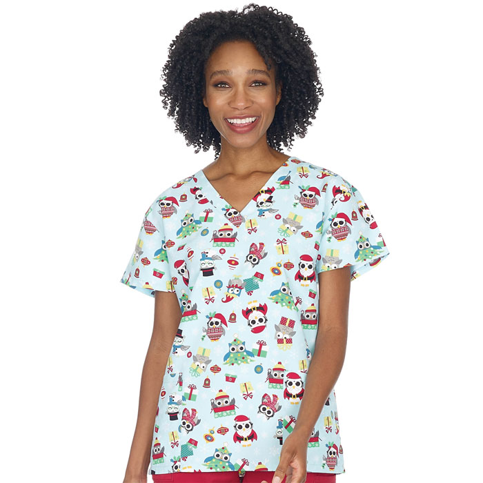 9000M-1321-Ladies-2-Pocket-V-Neck-Top-OWL-DRESSED-UP-