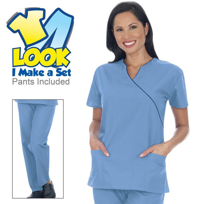 9005-46-Ladies-Mock-Wrap-Scrub-Set-Sets-Scrub-Sets