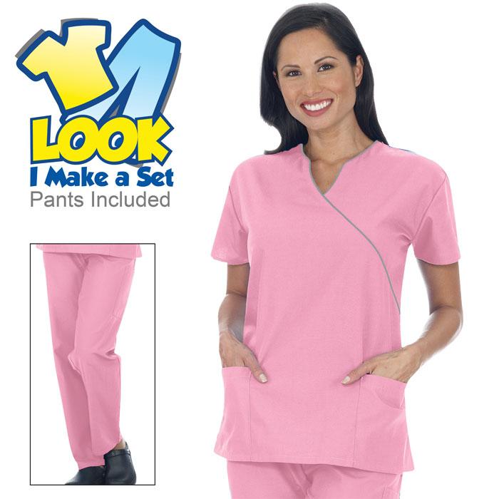 9005-21-Ladies-Mock-Wrap-Scrub-Set-Sets-Scrub-Sets