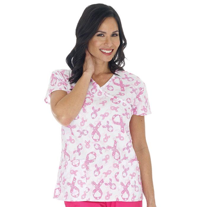 Ladies Mock Wrap Top, Get Pinked