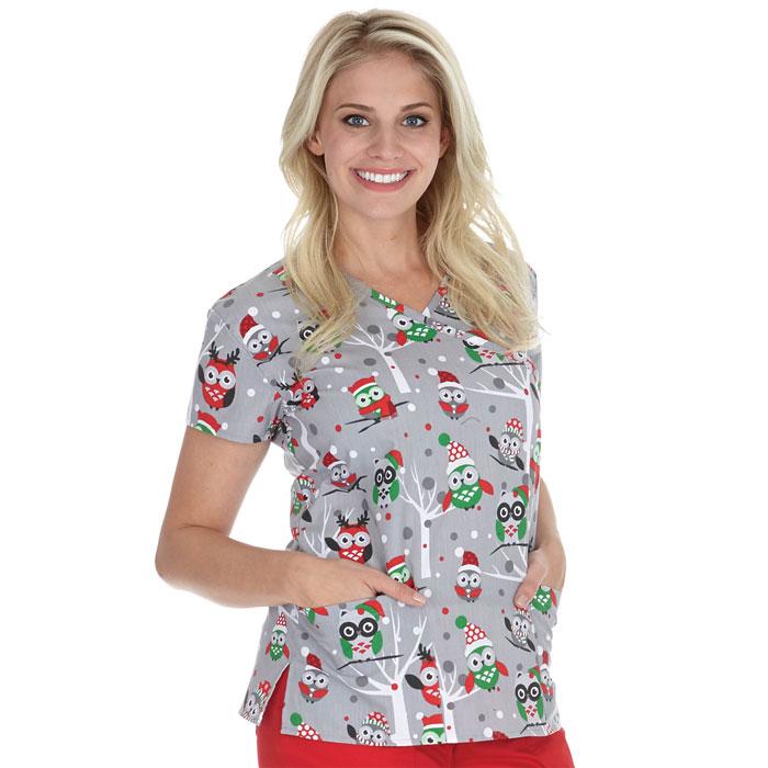 9100-1386-Ladies-Mock-Wrap-Scrub-Top-Whoo's-Ready-For-Christmas