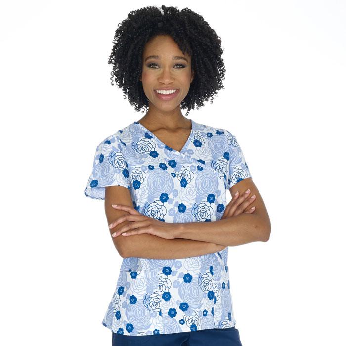9100-1414-Ladies-Mock-Wrap-Top-2-Pocket-Rosy-Outlook