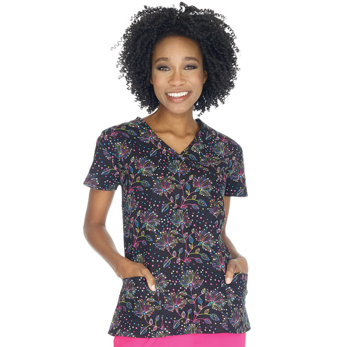 9100-1448C--Ladies-Mock-Wrap-Top-Star-Flower