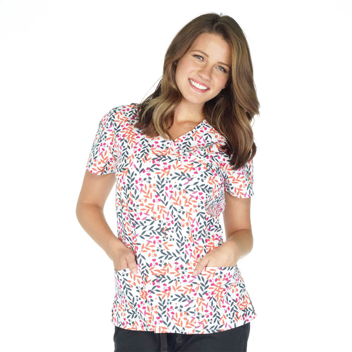 9100-1487-Ladies-Mock-Wrap-Top-Floral-Bliss