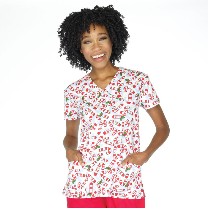 9100-1497-Ladies-Mock-Wrap-Scrub-Top-Cutie-Canes