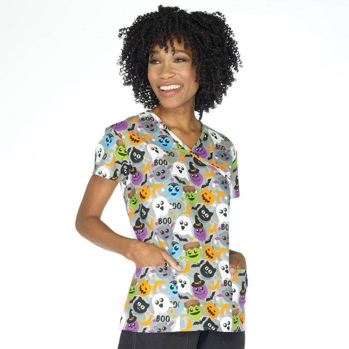 9100-1505-Ladies-Mock-Wrap-Scrub-Top-Boo-Balloons