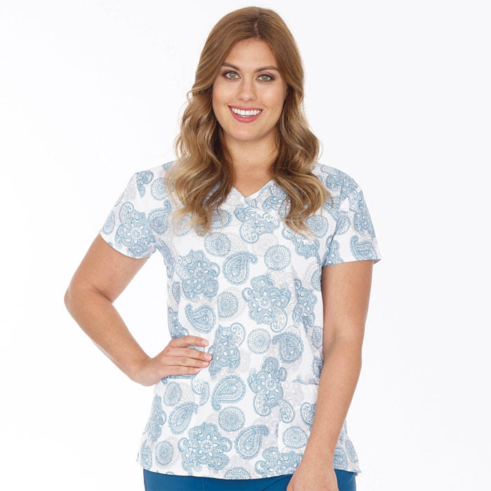 9100-1553, Ladies, Mock Wrap Top, 2 Pocket, Teal Paisley