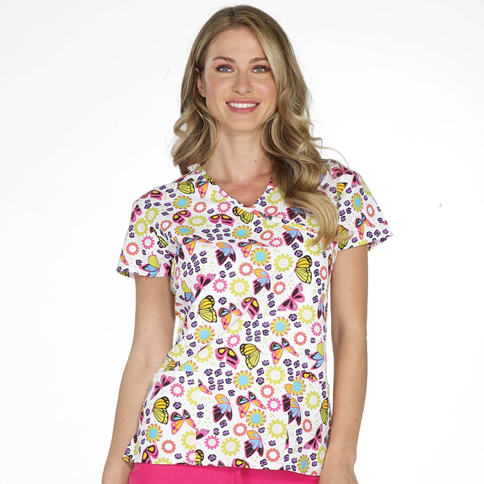 9100-1850M--Ladies-Mock-Wrap-Top-FEELIN-SPRINGY
