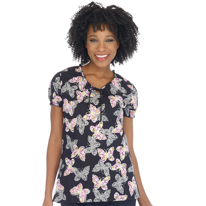 952-1249C-Ladies-Jewel-Neck-Ruffle-Top-Doodle-Butterflies
