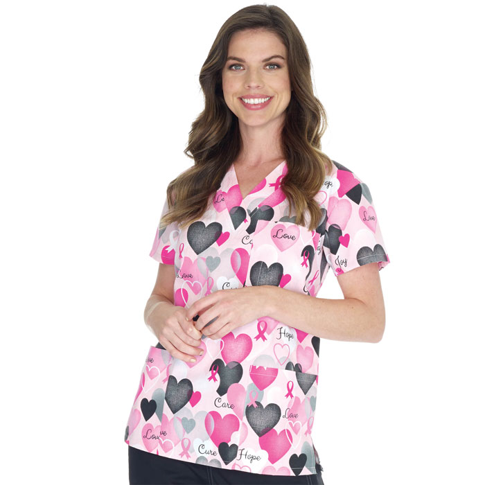 9904-1174-Ladies-3-Pocket-V-Neck-Top-BCA-Hearts