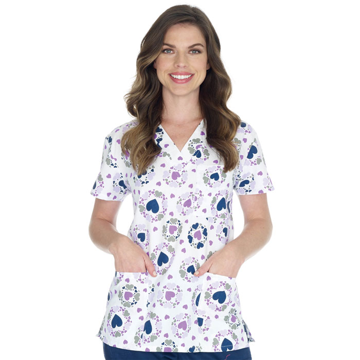 9904-1180WH-Ladies-3-Pocket-V-Neck-Top-Purple-Hearts