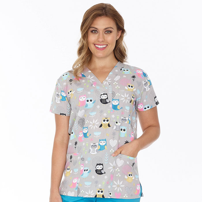9904-1266-Ladies-V-Neck-Top--Owl-World