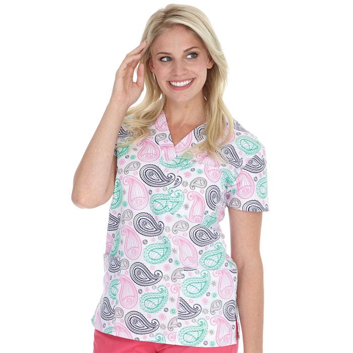 9904-1361-Ladies-3-Pocket-V-Neck-Top-Paisley-Dreams
