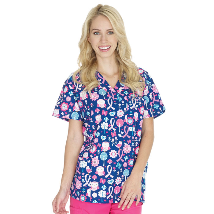 9904-1411C-Ladies-3-Pocket-V-Neck-Top-Tweet-the-Cure