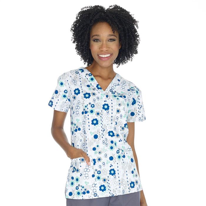 9904-1415-Ladies-3-Pocket-V-Neck-Top-Beaded-Floral