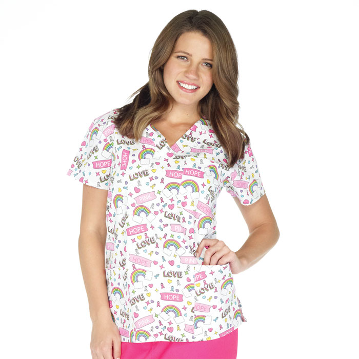 9904-1469-Ladies-3-Pocket-V-Neck-Top-Over-the-Rainbow