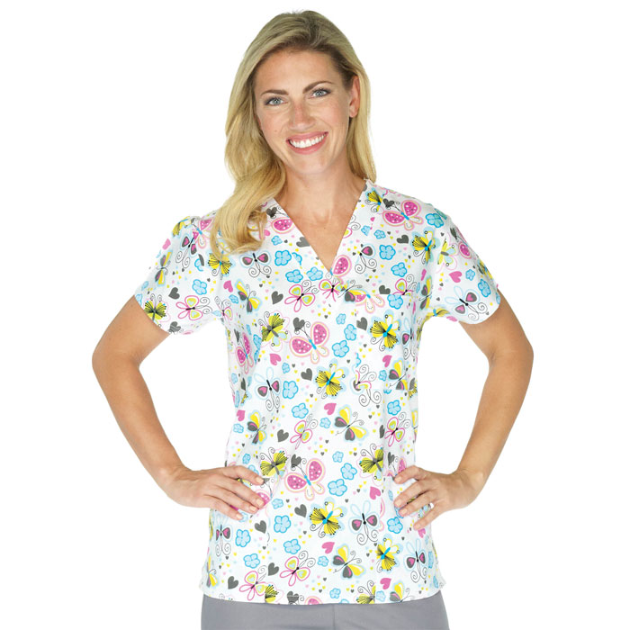 9904-1484--Ladies-3-Pocket-V-Neck-Top-Whimsical-Butterflies