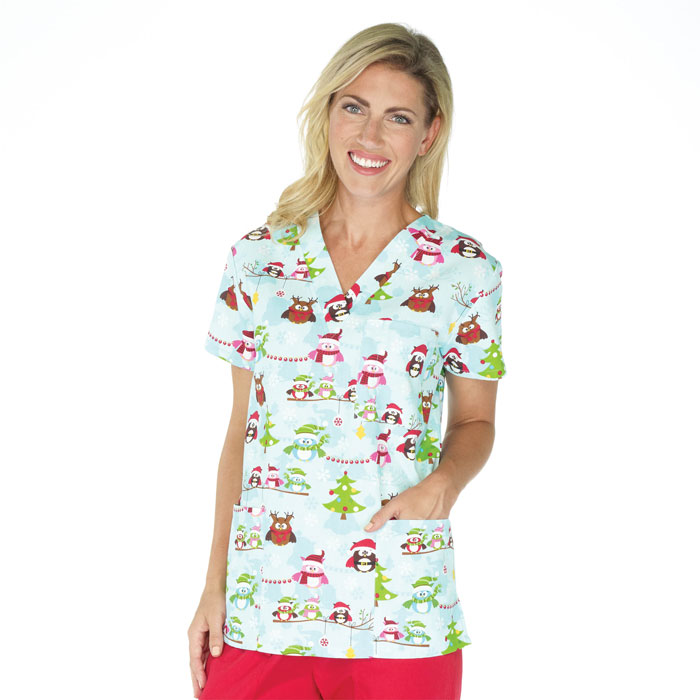 9904-1501-Ladies-3-Pocket-V-Neck-Top-Christmas-Carowls