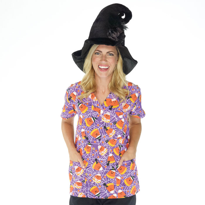 9904-1504-Ladies-3-Pocket-V-Neck-Top-Candy-Corn-Webs
