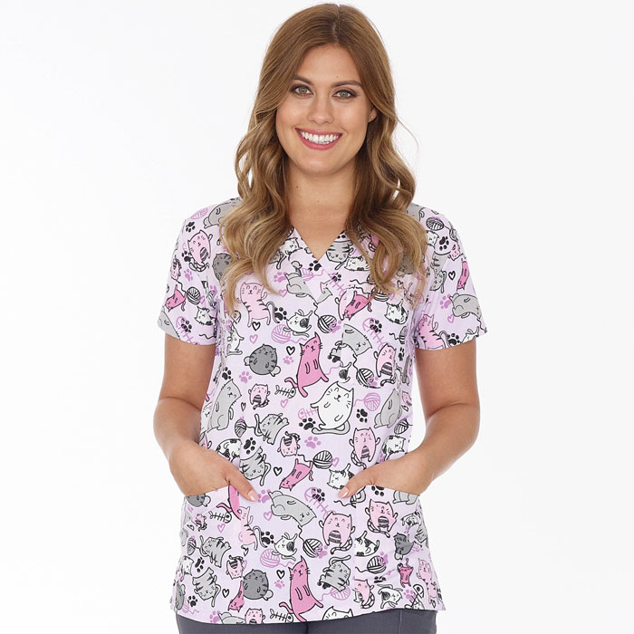 9904-1531-Ladies-3-Pocket-V-Neck-Top-Cat-Life