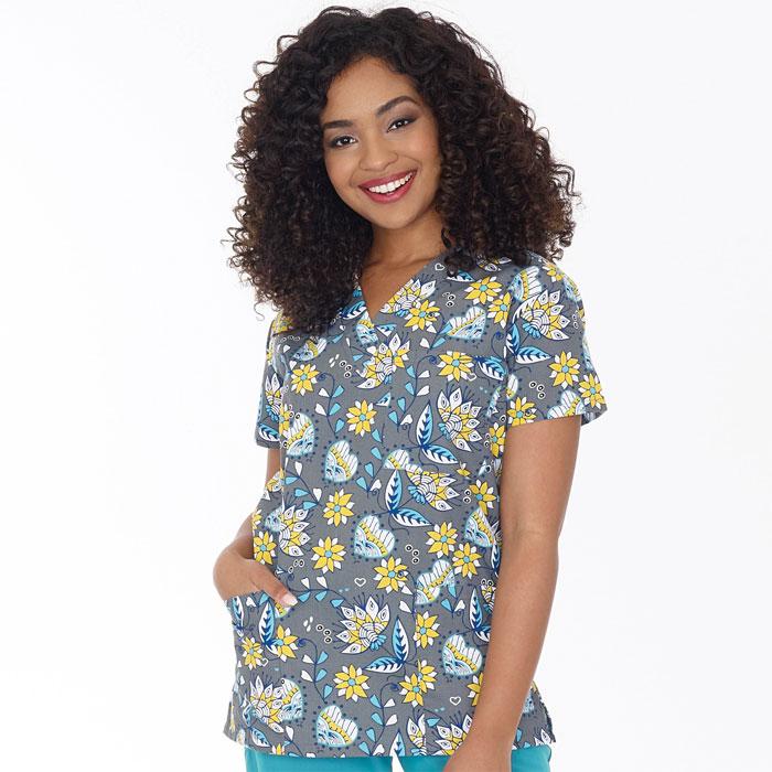 9904-1551-Ladies-3-Pocket-V-Neck-Top-Sunny-Side-Up