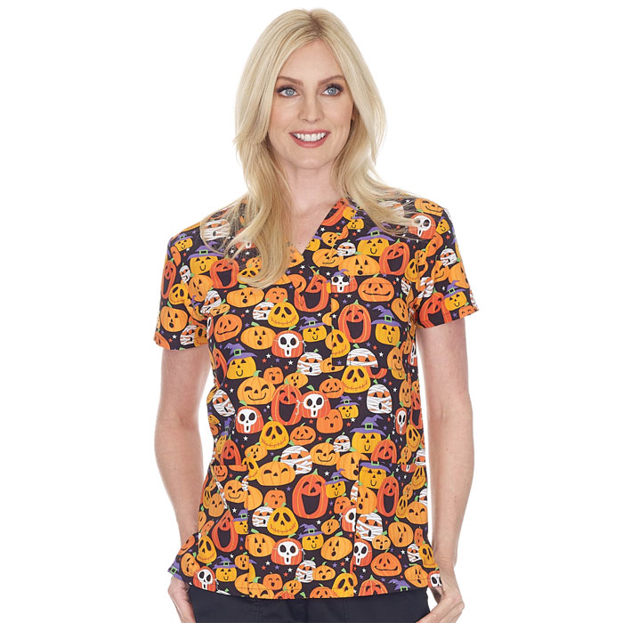 9904-1634M-Ladies-2-Pocket-V-Neck-Top-PUMPKIN-PARTY-