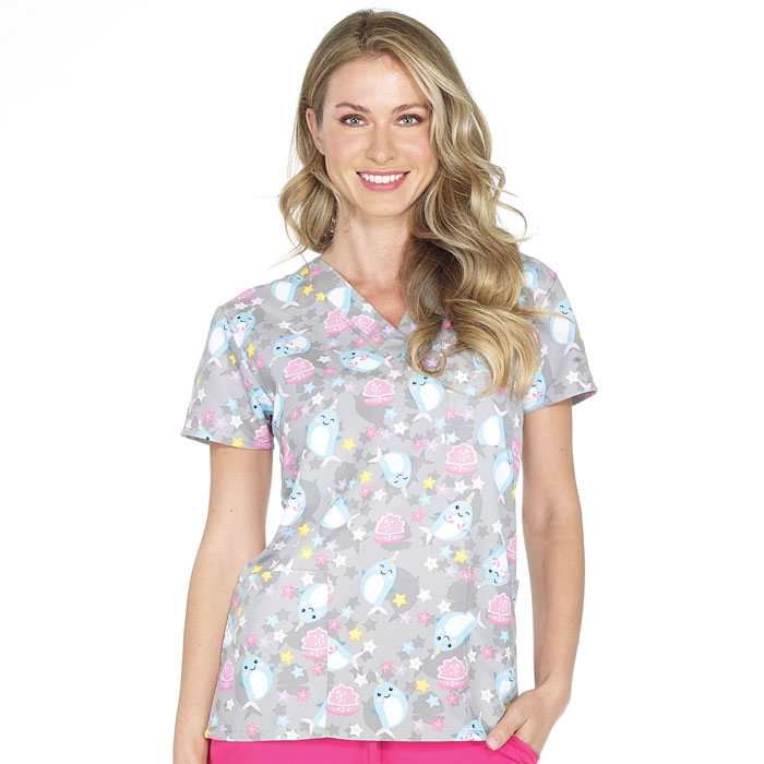 9904-1769-Ladies-3-Pocket-V-Neck-Top-HAPPY-NARWHAL