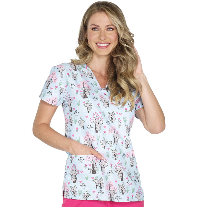 9904-1815-Ladies-3-Pocket-V-Neck-Top-KOALA-HUGS