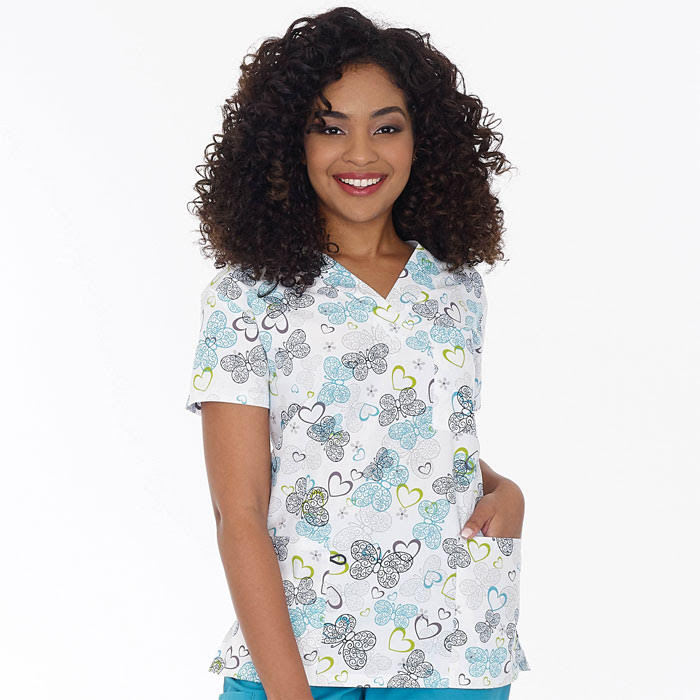 9904-767-Ladies-3-Pocket-V-Neck-Top-Lacy-Butterfly