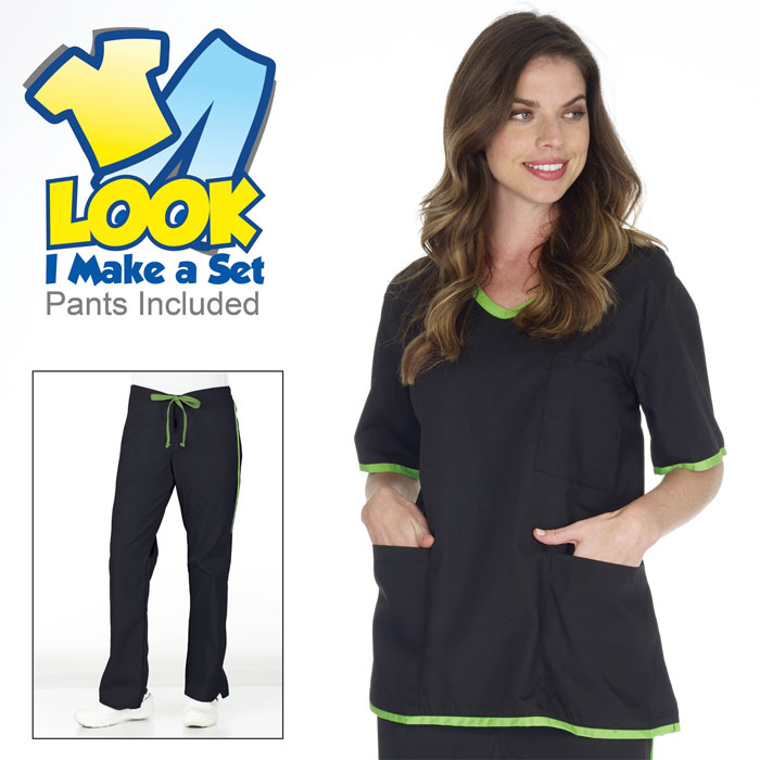 Natural Uniforms - SH505 - Womens Contrast Trim Scrub Set