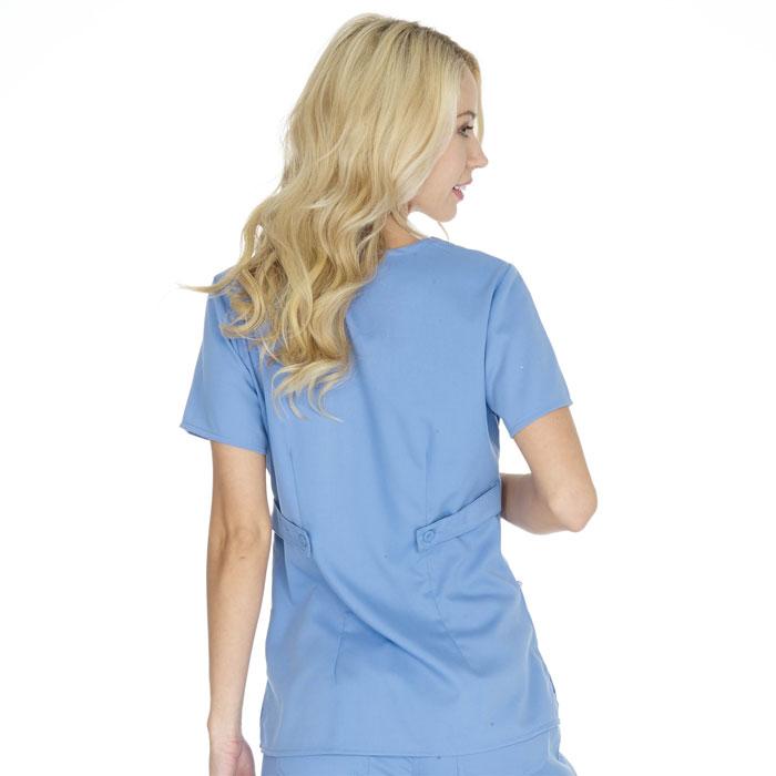 Greys Anatomy Womens 3 Pkt Mock Wrap Top