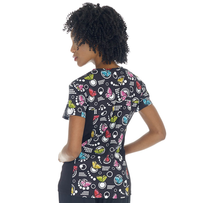 8d1fa6b5e77 I Love Scrubs - Cross Over V-Neck Top with Knit Side Panels - PIXIE LAND
