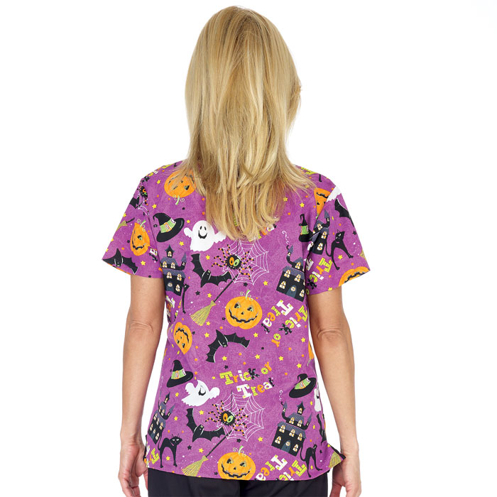 Coordinating Colors: - Fundamentals Trick Or Treat Halloween Scrub Top Scrubin.com