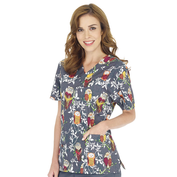 Wonderwink Origins The Bravo V Neck Print Scrub Top