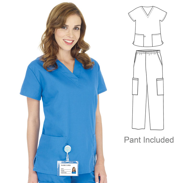 6602-Ladies-V-Neck-2-Pocket-Scrub-Set