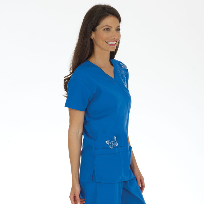 G Med Women's Embroidered Mock Wrap Solid Scrub Top and Pant Sets(SET-MED