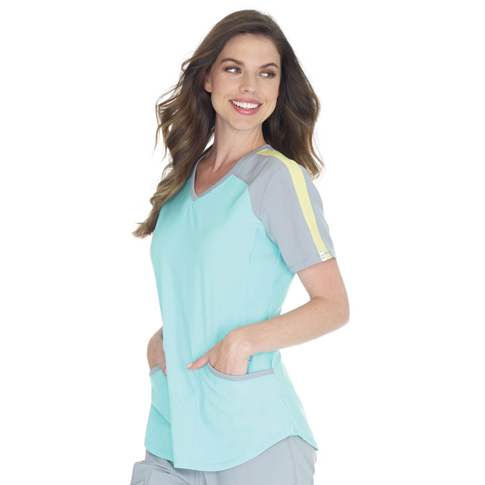 Details about  /Cherokee CK690A Women/'s Colorblock V-Neck Top