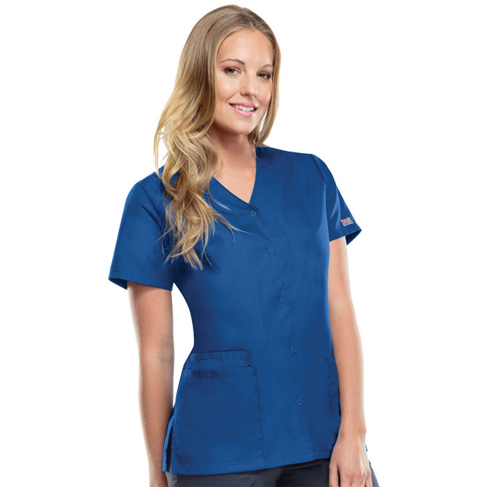 Cherokee Workwear, 4770, Snap Front V-Neck Scrub Top