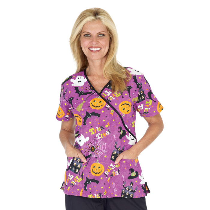fundamentals 5634 3522 trick or treat mock wrap holiday halloween scrub top - Halloween Scrubs Uniforms
