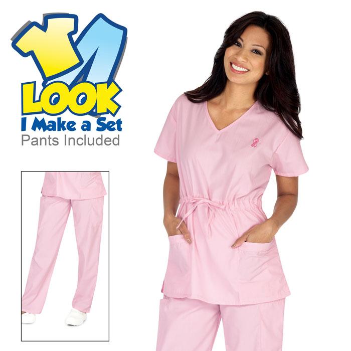 7301-21-Breast-Cancer-Awareness-Embroidery-scrub-set-sets-scrub-sets-Empire-Waist-Scrub-Set