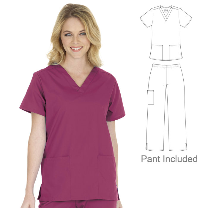 F3-Fundamentals-14720-14700-Ladies-2-Pocket-V-Neck-Scrub-Set-V-Neck-Top-and-Cargo-Pant