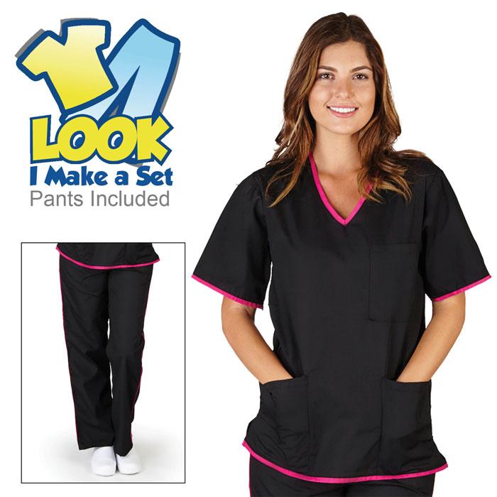 Natural-Uniforms-SH505-Womens-Contrast-Trim-Scrub-Set